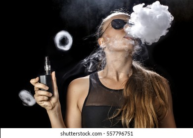 Girl soars on a black background vape