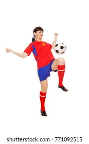 girl with soccer ball isolated on white background