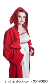 Girl sorcerer wearing red robe isolated on white