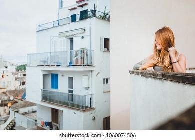 girl in spain on balcony
