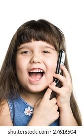 Girl speaking on the phone, white backdrop