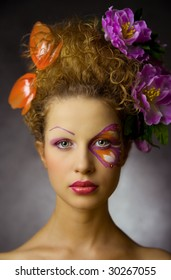 girl with special makeup like butterfly