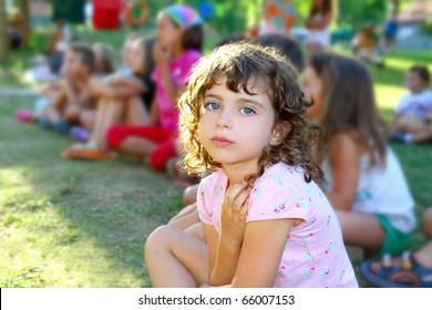 girl spectator little children looking show outdoor park looking camera