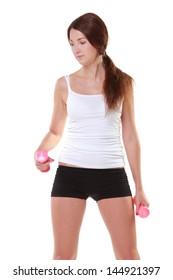 girl in sportswear with dumbbells