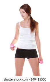 girl in sportswear with dumbbells goes in for sports