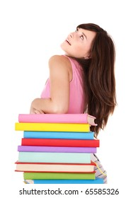 Girl with stack multicolored book . Isolated.