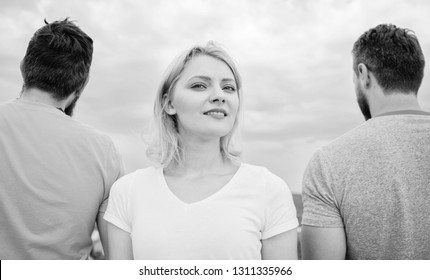 Girl stand in front two faceless men. Best traits of great boyfriend. How to pick better boyfriend. Girl thinking whom she going ask dating. Everything you need to know about choosing right guy.