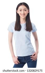 Girl standing aginst white background