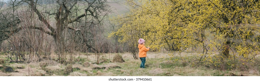 girl standing near the tree that blossomed. spring