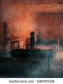 Girl standing on a bed in abandoned hospital,3d illustration