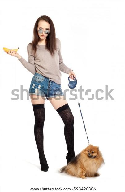 Girl Standing Photographed Studio Girl Dog Stock Photo (Edit Now