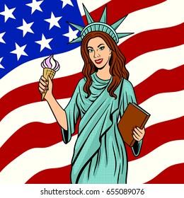Girl in Statue of Liberty suit pop art retro raster illustration. Comic book style imitation.
