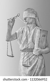 a girl in a stone statue costume. Femida the goddess of justice on a white background in one hand holding the scales. the other hand holds book with laws. concept art