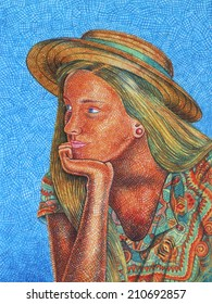 A girl with straw hat - drawing with colored pencils.