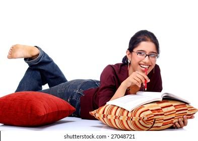 girl student giving pose of study