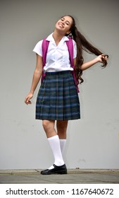 Girl Student With Long Hair Wearing School Uniform