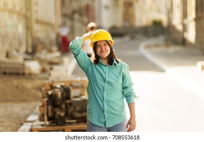 Girl student  practice on a construction site