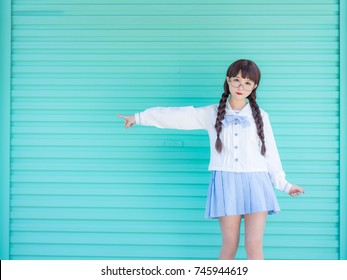 girl student in school uniform japanese style with blue blackground