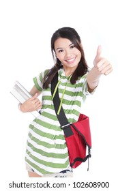 girl student thumbs up hand gesture with great smile isolated on white background, model is a asian woman