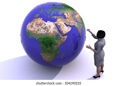 The girl is studying the globe.