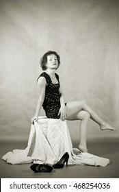 Girl in a summer dress. Vintage.