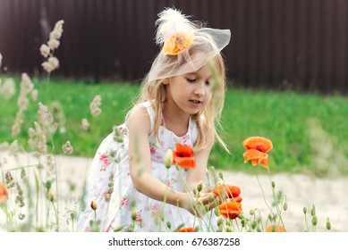 girl in summer on the field