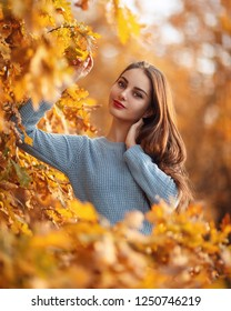 Girl in a sunny autumn forest