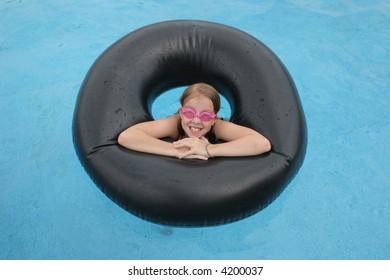 girl in swiming pool