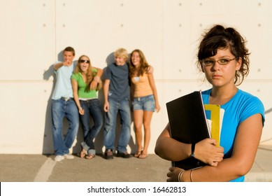 girl swot being jeered at by other students
