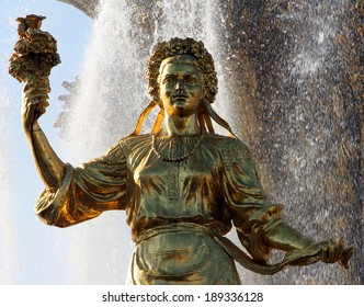 girl symbolizing Ukraine - part of the fountain Friendship of Nations, All-Russian Exhibition Center, Moscow