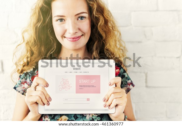 Girl Tablet Startup Business Concept