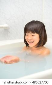 Girl take a bath