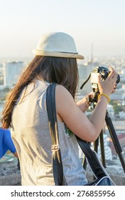 Girl take the photo at vacation and take the high view