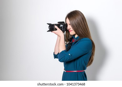 Girl take pictures on camera