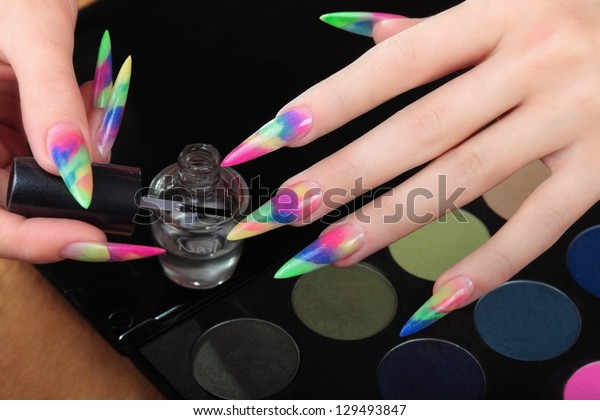 Girl takes care of the nails.