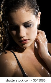 Girl taking shower showing emotion