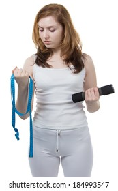 Girl with tape measure in her hands - isolated photo