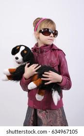 Girl with teddy dog