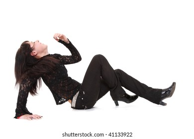 The girl the teenager in black clothes lays and laughs