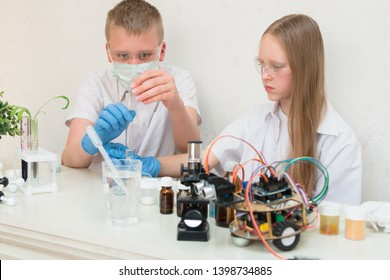 A girl and a teenager boy in a biochemical laboratory at a school are conducting experiments. On the table is a robot, test tubes, plants, a microscope. STEM & STEAM education. Scientific summer camp.