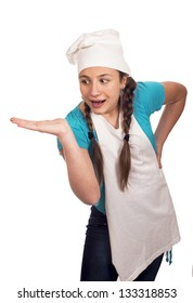 girl the teenager holds an empty palm on a white background