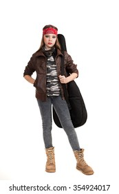the girl the teenager in a leather jacket with a guitar on a white background