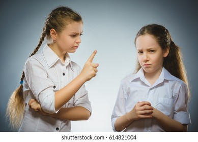 The girl tells the bad news to another girl. Communication concept