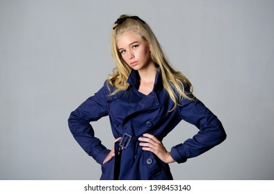 Girl tender blonde makeup face grey background. How repair bleached hair fast and safely. Bleaching roots. Hairdresser tips concept. Salvaged my bleached hair. How to take care of bleached hair.