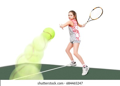 Girl tennis player on the tennis court, isolated on a white background