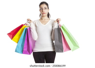 girl thinking after shopping on white background