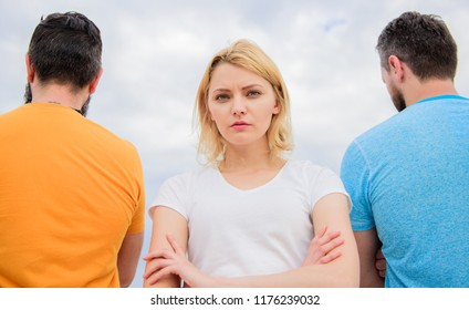 Girl thinking whom she going ask dating. Everything need know about choosing right guy. Girl stand in front two faceless men. Pick better boyfriend. Hard decision for her. Best traits great boyfriend.