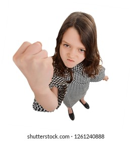 Girl threatens with a punch. Enormous fist. Self defence and agressive answer on school bullying.