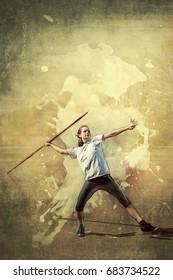 Girl throws a spear