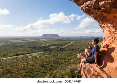 Girl at the top of Chapada's Portal - Carolina, Maranhao, Brazil